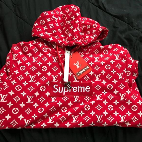 Louis Vuitton x Supreme red hoodie NWT